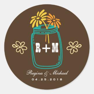 Rustic Mason Jar Flower Country Wedding Sticker