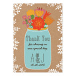 Rustic Mason Jar Flowers Craft Paper Thank You Large Business Cards (Pack Of 100)
