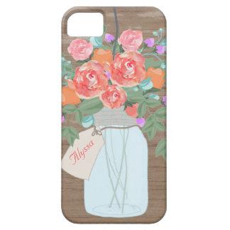 Rustic Mason Jar Flowers Personalized iPhone 5 Case
