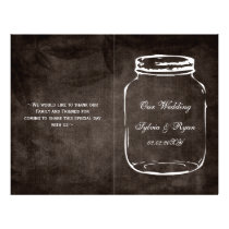 rustic mason jar folded Wedding program