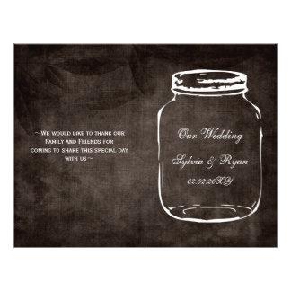 rustic mason jar folded Wedding program