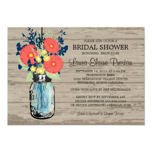 Rustic Mason Jar Gerber Daisies Bridal Shower 5x7 Paper Invitation Card
