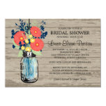 Rustic Mason Jar Gerber Daisies Bridal Shower Card
