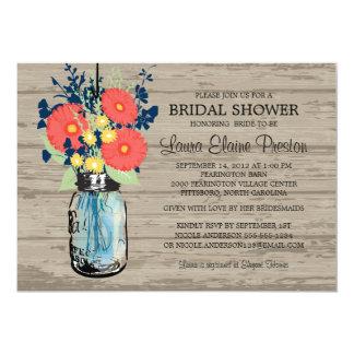Rustic Mason Jar Gerber Daisies Bridal Shower Card