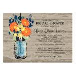 Rustic Mason Jar Gerber Daisies Bridal Shower Announcement