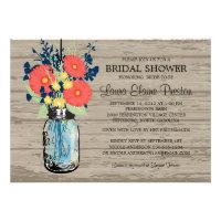 Rustic Mason Jar Gerber Daisies Bridal Shower Custom Announcements
