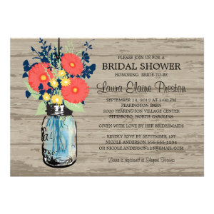 Rustic Mason Jar Gerber Daisies Bridal Shower Invites