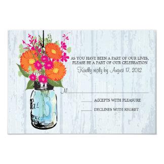 Rustic Mason Jar & Gerber Daisies RSVP 3.5x5 Paper Invitation Card