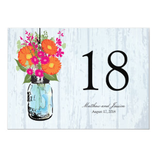 "Rustic Mason Jar Gerber Daisies Table Number 5"" X 7"" Invitation Card"