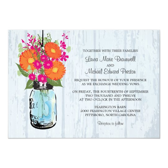 Rustic Daisy Wedding Invitations: Rustic Mason Jar & Gerber Daisies Wedding Invitation