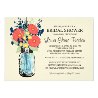 Rustic Mason Jar Gerbera Daisies Bridal Shower Card