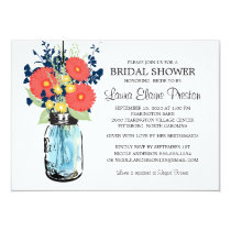 Rustic Mason Jar Gerbera Daisies Bridal Shower Invitation