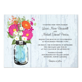 Rustic Mason Jar & Gerbera Daisies Wedding Invitation