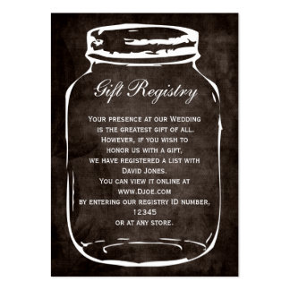 rustic mason jar Gift registry  Cards Large Business Cards (Pack Of 100)