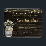 """Rustic Mason Jar Glowing Lights Magnet<br><div class=""""desc"""">Beautiful design for your save the date announcement. Mason Jar on a rustic wooden background with hanging lights.</div>"""