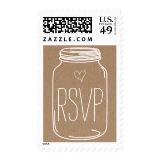 Rustic Mason Jar Heart RSVP Wedding 2 Postage