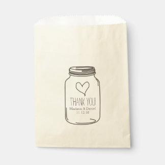 Rustic Mason Jar Heart Wedding Thank You Favor Bags