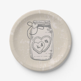 Rustic Mason Jar Hearts Tan Brown Wedding Paper Plate