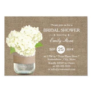 Rustic Mason Jar & Hydrangea Burlap Bridal Shower Card