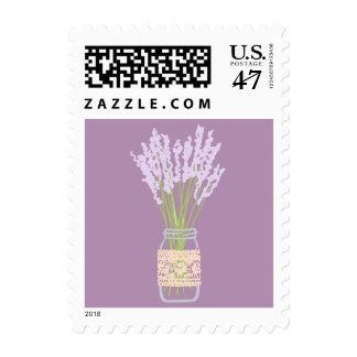 Rustic Mason Jar Lavender Wedding Postage Stamps