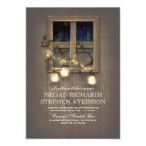 Rustic Mason Jar Lights and Vintage Barn Wedding Card