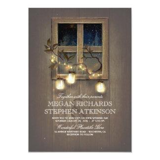 Rustic Mason Jar Lights and Vintage Barn Wedding Card
