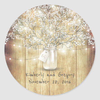 Rustic Mason Jar Lights Baby's Breath Wedding Classic Round Sticker