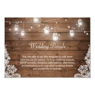 Rustic Mason Jar Lights Lace Wedding Details Info Card