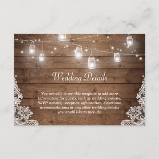Rustic Mason Jar Lights Lace Wedding Details Info Enclosure Card