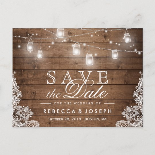 Rustic Mason Jar Lights Lace Wedding Save The Date