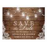 Rustic Mason Jar Lights Lace Wedding Save The Date Postcard at Zazzle