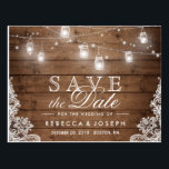 "Rustic Mason Jar Lights Lace Wedding Save the Date Postcard<br><div class=""desc"">Rustic Mason Jar Lights Lace Wedding Save the Date Postcard (1) If you are planning send out via USPS, you may consider use this version: https://www.zazzle.com/239110578404568651 (2) For further customization, please click the &quot;Customize it&quot; button and use our design tool to modify this template. All text style, colors, sizes can...</div>"