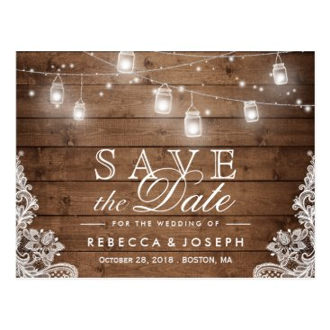CardHunter Rustic Mason Jar Lights Lace Wedding Save the Date Postcard