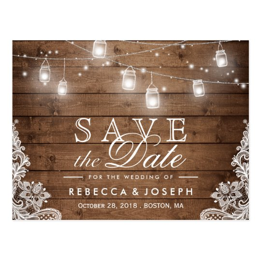 Rustic mason jar lights lace wedding save the date postcard zazzlecom for Rustic save the date templates free