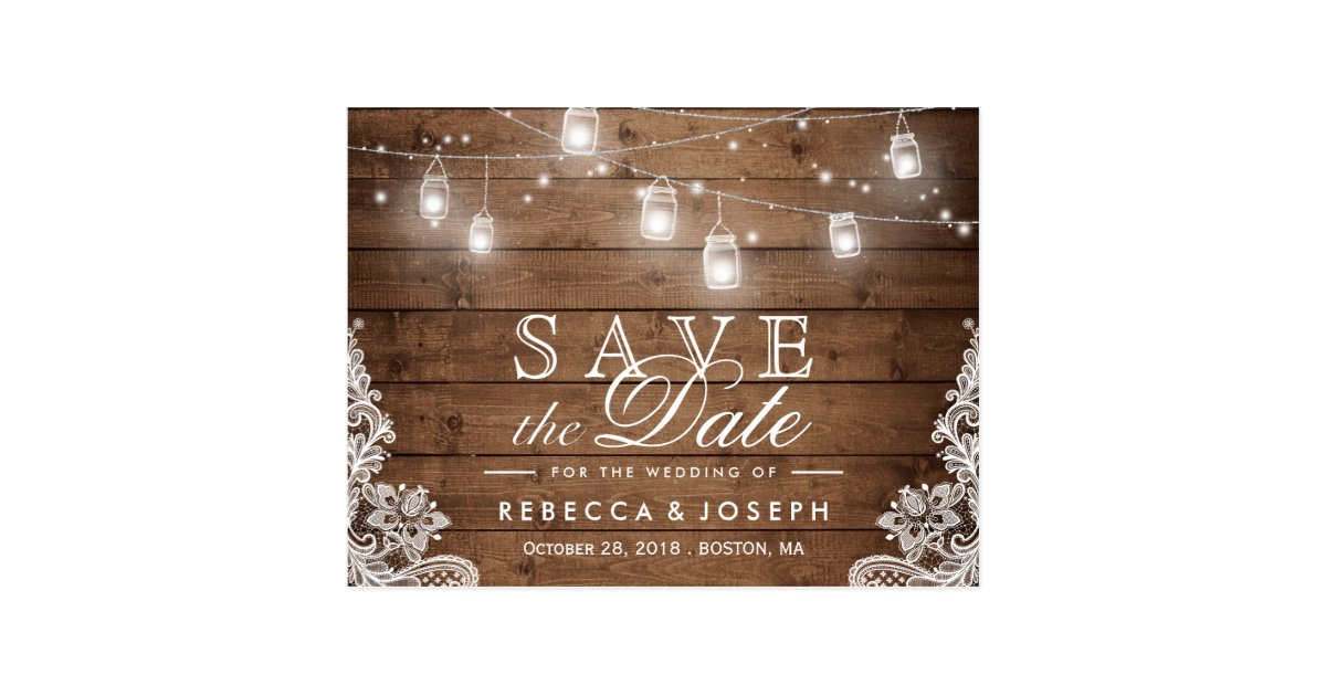Save the date postcards zazzle rustic mason jar lights lace wedding save the date postcard junglespirit Gallery
