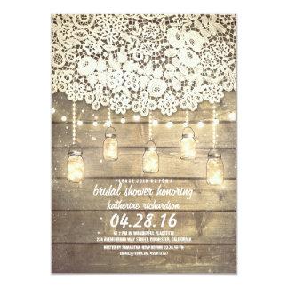 Rustic Mason Jar Lights Lace Wood Bridal Shower 5x7 Paper Invitation Card