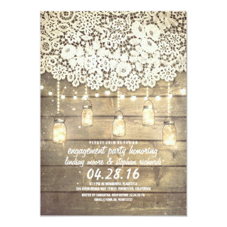 Rustic Mason Jar Lights Lace Wood Engagement Party 5x7 Paper Invitation Card