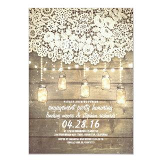 Rustic Mason Jar Lights Lace Wood Engagement Party 5x7 Paper Invitation Card