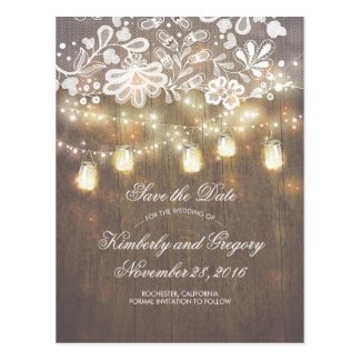 Rustic Mason Jar Lights Lace Wood Save the Date Postcard