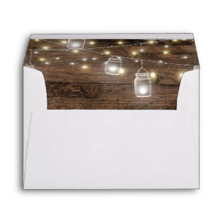 Rustic Mason Jar Lights Romantic Vintage Envelope