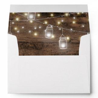 Rustic Mason Jar Lights Romantic Vintage Envelope
