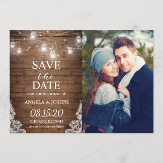 Rustic Mason Jar Lights Save the Date Photo