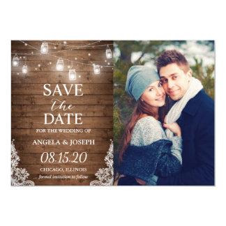 Rustic Mason Jar Lights Save the Date Photo Card