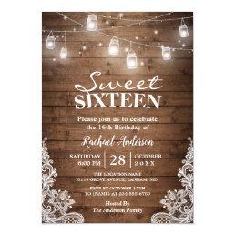 Rustic Mason Jar Lights Sweet 16 Birthday Party Card