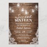 """Rustic Mason Jar Lights Sweet 16 Birthday Party Invitation<br><div class=""""desc"""">Create your perfect invitation with this pre-designed templates, you can easily personalize it to be uniquely yours. For further customization, please click the """"customize further"""" link and use our easy-to-use design tool to modify this template. If you prefer Thicker papers / Matte Finish, you may consider to choose the Matte...</div>"""