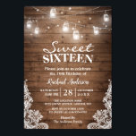 "Rustic Mason Jar Lights Sweet 16 Birthday Party Invitation<br><div class=""desc"">Rustic Mason Jar Lights Sweet 16 Birthday Party Invitation. (1) For further customization, please click the &quot;customize further&quot; link and use our design tool to modify this template. (2) If you prefer thicker papers / Matte Finish, you may consider to choose the Matte Paper Type. (3) If you need help...</div>"