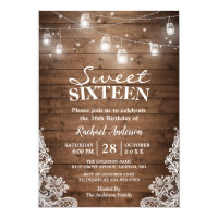 Rustic Mason Jar Lights Sweet 16 Birthday Party Invitation