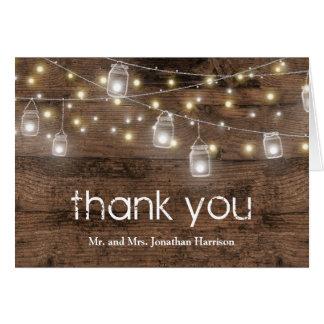 Rustic Mason Jar Lights Vintage Thank You Card