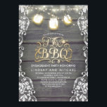 "Rustic Mason Jar Lights Wood and Lace I Do BBQ Invitation<br><div class=""desc"">Rustic barn wood and white floral lace engagement or couples shower invitation with enchanted string lights and mason jars full of starry golden fireflies.</div>"
