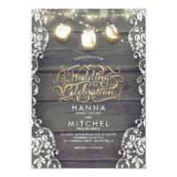 Rustic Mason Jar Lights Wood and Lace Wedding Card
